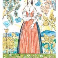 """Jungfru Maria, akvarell av Jerk Werkmäster, 1975, en av hans mest kända målningar. Den är omslagsbild till boken """"Karlfeldts Sjungare"""", där Maria av Karlfeldt placeras i Sjugare by. Erik Axel Karlfeldt inspirerades av de väggmålningar som förr fanns i många hem och kyrkor. Det var folkkonsten som ofta gav ingivelsen till diktandet, vilket bland annat resulterade i diktsamlingen """"Dalmålningar på rim"""", som kom ut 1901."""