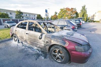 ingen ovanlig syn. På bild en bil som brunnit upp på en parkering i Tjärna ängar. Foto: Nya Tider