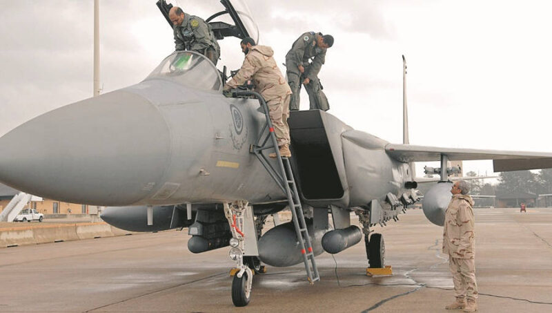 The Royal Saudi Air Force maintainers help their pilots get ready for take off on February 1, 2008, Seymour Johnson AFB, North Carolina.  The Royal Saudi Air Force passes through Seymour Johnson AFB, to participate in Red Flag at Nellis, AFB, Las Vegas.    (US Air Force photo by Airman First Class Salma Din)(Released)