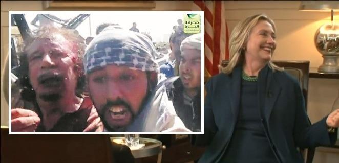 """""""VI KOM, VI SÅG, HAN DOG"""", sade en hånskrattande Hillary Clinton då hon pratade med en journalist på CBS efter att ha fått veta att den libyske presidenten Moammar Gadaffi blivit mördad på ett utstuderat sadistiskt sätt av väststödda rebeller. Inte ett enda större massmedium i Sverige rapporterade om uttalandet. Istället har man hållit fram då Donald Trump vid ett tillfälle sade om en aggressiv motdemonstrant att han hade lust att """"slå honom på käften"""" för att låta påskina att han skulle kunna använda kärnvapen ifall han blir arg. Foto: Stillbild CBSNEWS"""