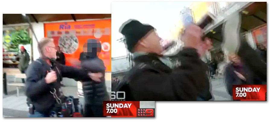 TV-team från Australien attackerades i Rinkeby. Stillbild: Nine