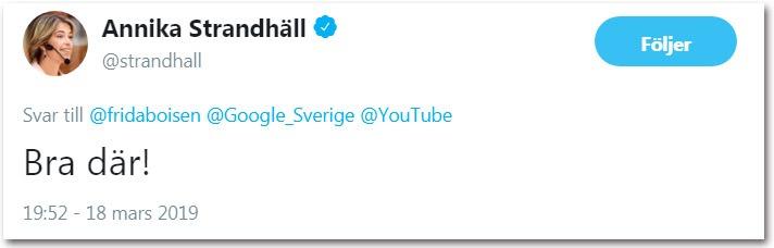 Annika Strandhäll, socialförsäkringsminister och socialminister, jublar över nedstängningen.