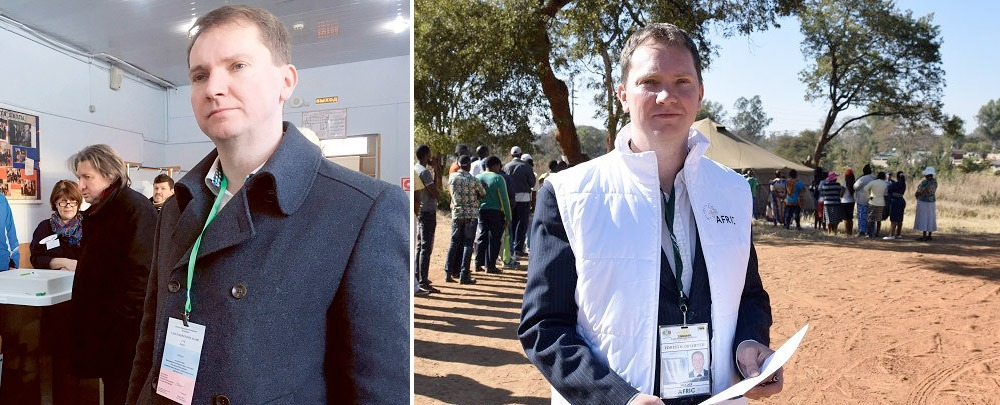 Vávra Suk, Editor in Chief, as elections observer in Moscow, March 2018, (left) and in Zimbabwe, August 2018 (right). Photo: Nya Tider