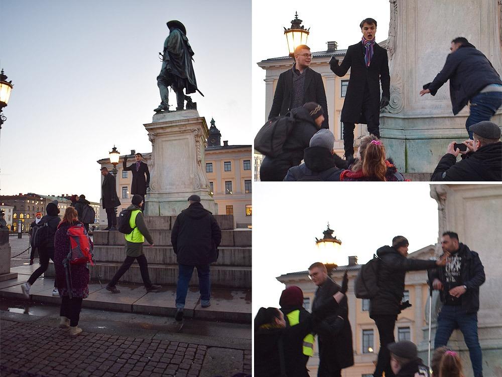 Vänstern och islamisterna fick mothugg av en ung man som ställde sig vid Gustav II Adolfs staty och sade bland annat att 'Sverige är kristet och fritt' och 'Sverige är inte till för dem som hatar Sverige'. Foto: Nya Tider