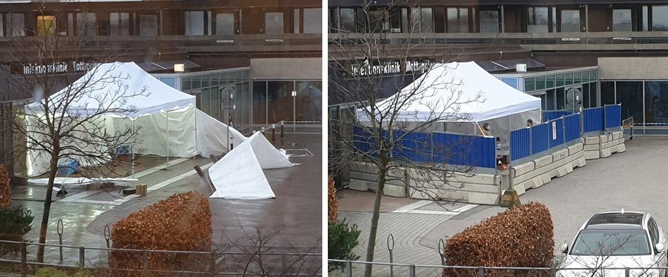 Tältet, som blåst sönder under natten, återuppbyggdes inför statsministerns besök. Foto: Privat