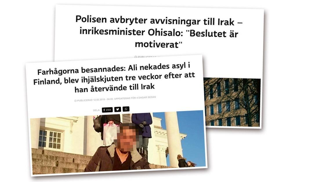 """Efter Alis påstådda död inledde public service-bolaget Yle en intensiv kampanj för att liberalisera Finlands invandringspolitik, bland annat genom hård kritik mot finska migrationsverket Migri. Nu när bluffen avslöjats har Yle bett om ursäkt för sina falska nyheter och sagt att det är """"pinsamt"""" och """"beklagligt"""". Skärmavbild: Yle"""